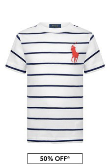 Boys White Striped Cotton T-Shirt