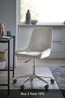 Opulent Velvet Light Grey Hamilton Office Chair With Chrome Base