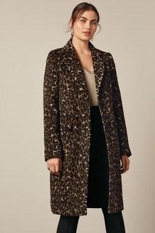 Animal Print Revere Collar Coat