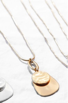 Gold Tone Sleek Long Pendant Necklace