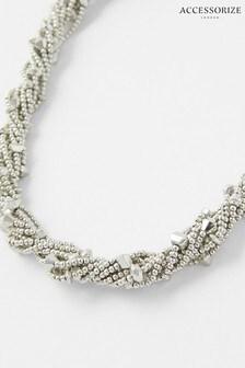 Accessorize Silver Tone Beaded Twist Collar Necklace