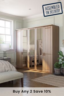 Oak-mirror Elmsmore Extra Large Hinged Wardrobe