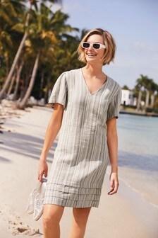 Grey Stripe Linen Mix Mini Kaftan Dress