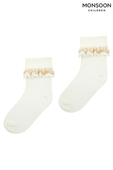 Monsoon Chloe Sparkle Gold Lace Socks
