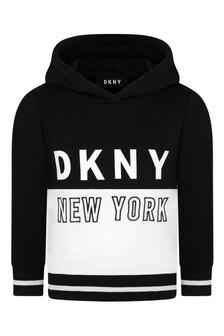 Boys Black/White Hooded Logo Sweater