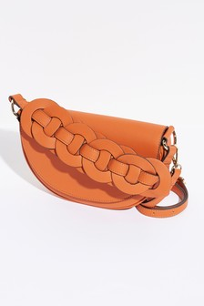 Orange Weave Detail Across Body Saddle Bag