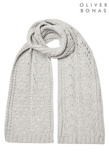 Oliver Bonas Grey Pointelle Stitch Knitted Scarf