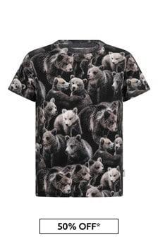 Boys Bear Print Organic Cotton T-Shirt