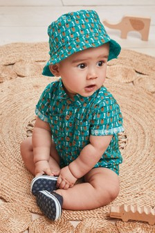 Green Geo Romper And Hat Set (0mths-2yrs)