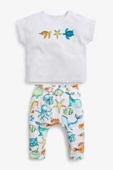 White GOTS Organic Sea Life T-shirt and Legging Set (0mths-2yrs)