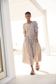 Chocolate Gingham Mutton Sleeve Dress
