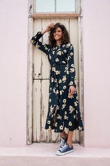 Navy Floral Midi Shirt Dress