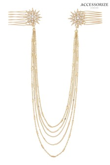 Accessorize Gold Tone Starburst Vine Chain