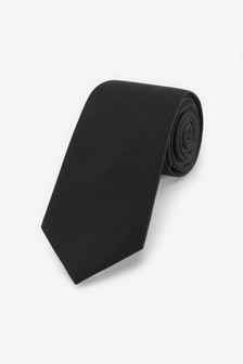 Black Regular Silk Tie