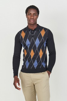 Black Check Knitted Polo Shirt