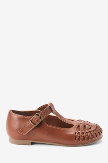 Tan Woven T-Bar Shoes (Younger)