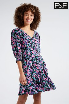 F&F Multi Black Electric Floral Wrap Mini Dress