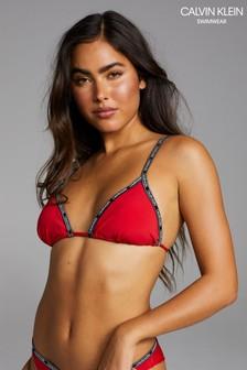 Calvin Klein Red Core Logo Tape Triangle Bikini