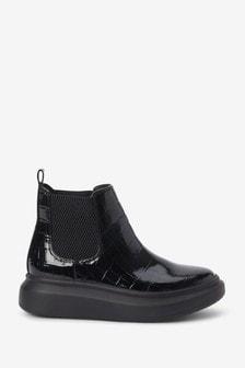 Black Patent Croc Chunky Boots