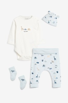 Blue/Ecru 4 Piece Bodysuit, Legging, Hat And Sock Set (0mths-2yrs)