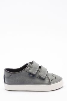Grey Brogue Strap Touch Fastening Shoes (Younger)