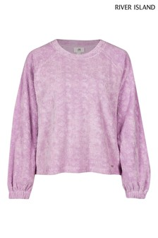 River Island Petite Purple Embossed Logo Puff Sleeve Sweater