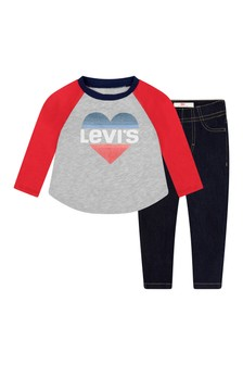 Baby Girls Grey Cotton T-Shirt & Jeans Set