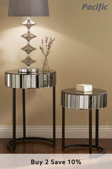 Pacific Lifestyle Smoked Grey Mirrored Glass Metal Set 2 Side Tables