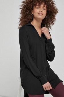 Black Longline Button Shirt