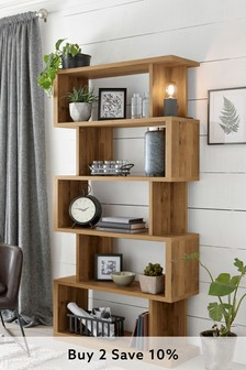 Rustic Oak Effect Bronx Tall Shelf