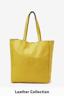 Yellow Leather Shopper Bag