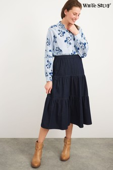 White Stuff Blue Denim Mia Tiered Denim Skirt