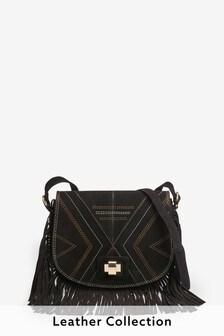 Black Suede Fringe Stitch Detail Saddle Bag