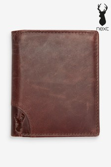 Tan Leather Bifold Wallet With Embossed Stag