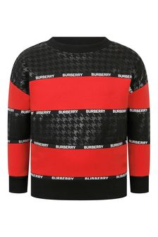Boys Red Striped Cotton Sweater