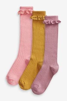 Multi 3 Pack Rib Knee High Socks