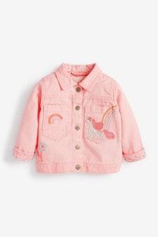 Pink Embroidered Unicorn Western Jacket (3mths-7yrs)