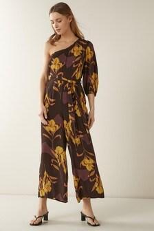 Brown Floral One Shoulder Jumpsuit