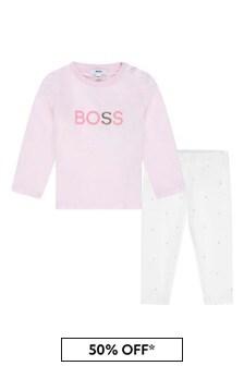 Baby Girls Pink/White Cotton Leggings Set