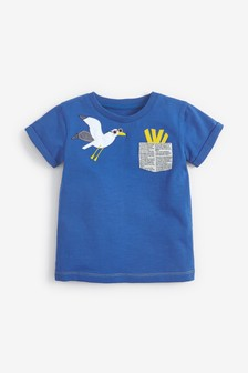 Blue Short Sleeve Seagull And Chips Pocket T-Shirt (3mths-7yrs)