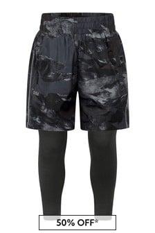 Boys Black Camo Shorts With Leggings