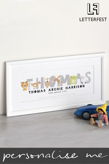Personalised White Framed Name Baby Print by Letterfest