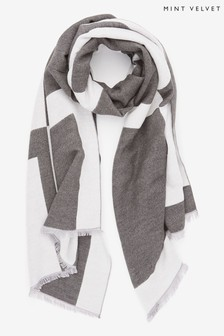 Mint Velvet Grey Love Soft Jacquard Scarf