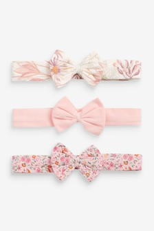 Floral 3 Pack Bow Headbands (0-18mths)