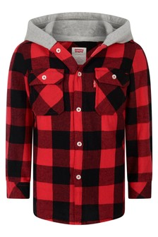 Boys Red Cotton Flannel Hooded Overshirt