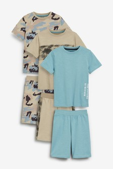 Beige 3 Pack Camo Short Pyjamas (3-16yrs)