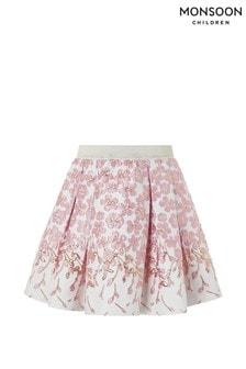 Monsoon Pink Petal Border Jacquard Skirt