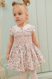Pink Floral Printed Shirred Prom Dress (3mths-7yrs)