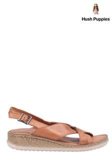 Hush Puppies Tan Elena Cross Over Wedge Sandals