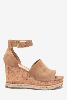 Tan Leather Open Toe Wedge Sandals